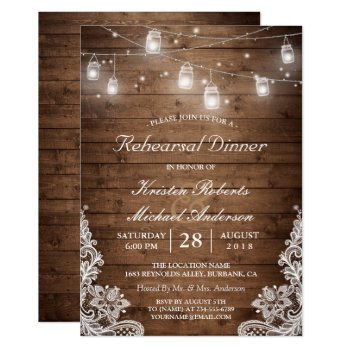 Rehearsal Dinner Rustic Wood Mason Jar Lights Lace Card by CardHunter at Zazzle