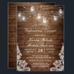"""Rehearsal Dinner Rustic Wood Mason Jar Lights Lace Invitation<br><div class=""""desc"""">Rustic Wood Mason Jars String Lights Lace Wedding Rehearsal Dinner Invitation. (1) For further customization, please click the &quot;customize further&quot; link and use our design tool to modify this template. (2) If you prefer Thicker papers / Matte Finish, you may consider to choose the Matte Paper Type. (3) If you...</div>"""