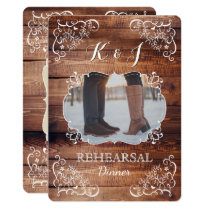 Rehearsal Dinner Rustic Woodland Wedding Photo Invitation