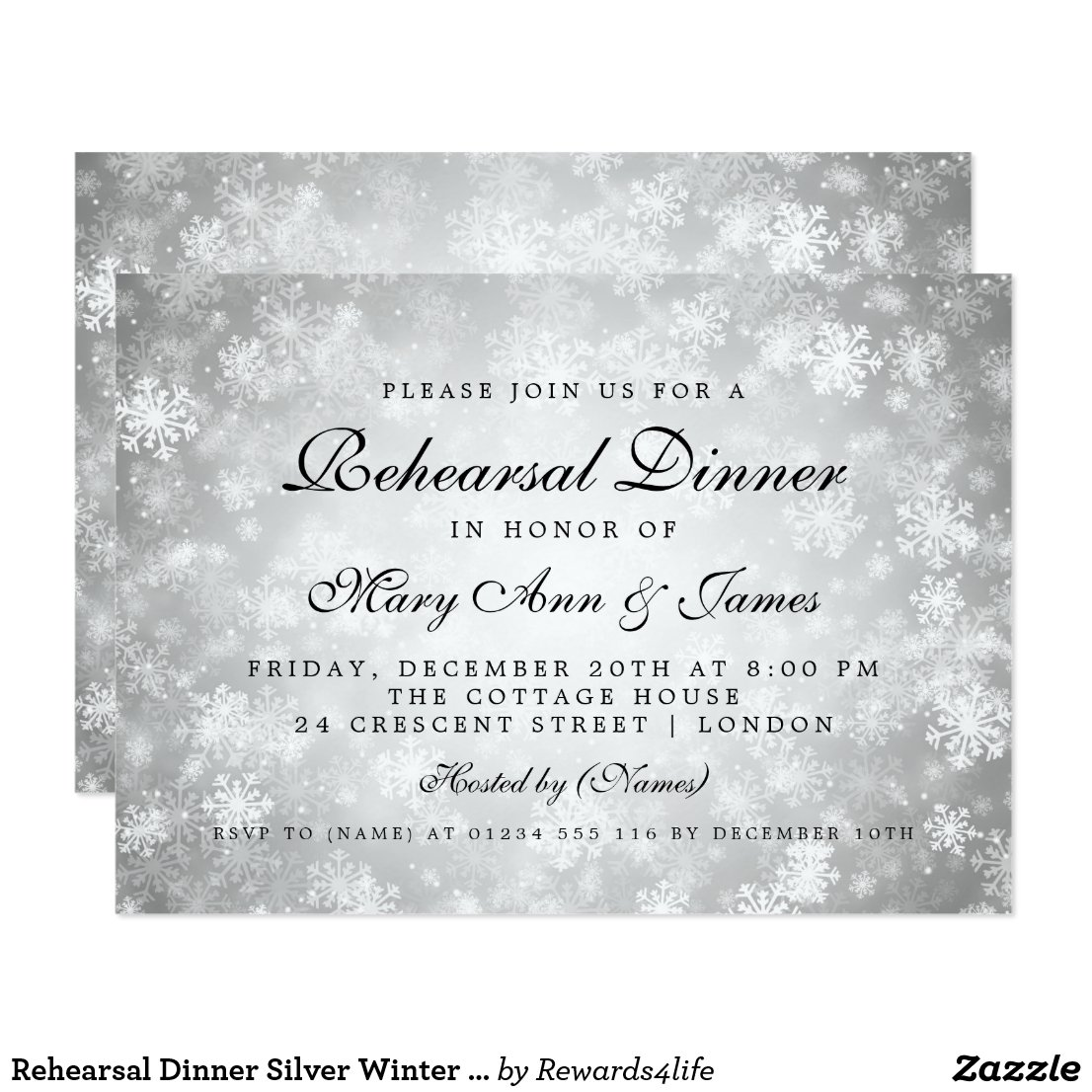 Rehearsal Dinner Silver Winter Wonderland Invitation