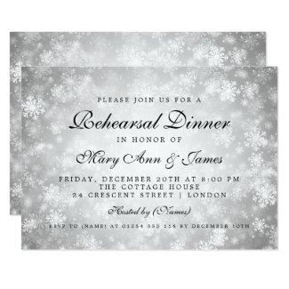 Rehearsal Dinner Silver Winter Wonderland Invitation