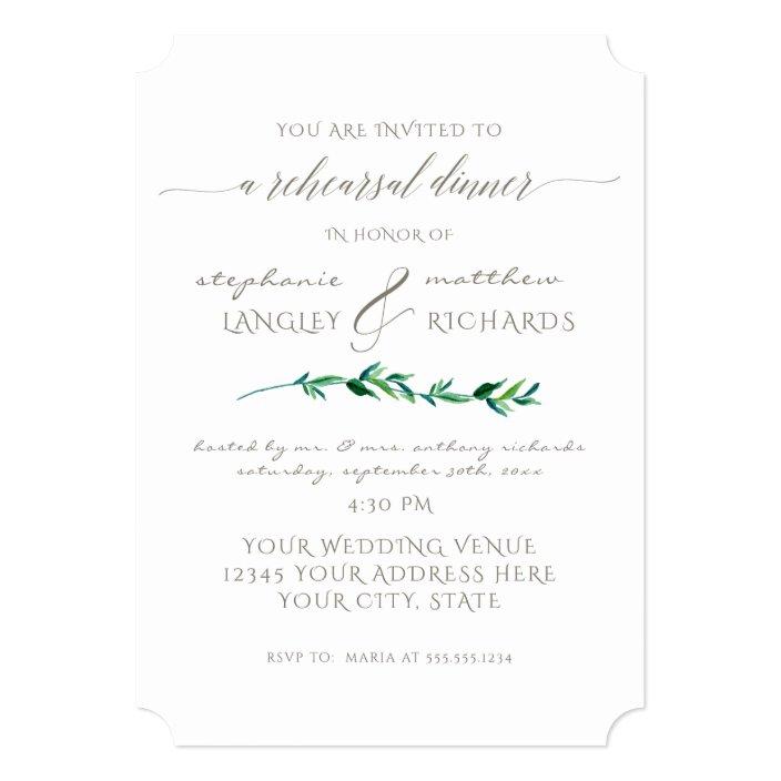 Rehearsal Dinner Simple Minimalist Modern Leaf Art Invitation ...