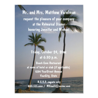 Rehearsal Dinner Sunset with Trade Winds 4.25x5.5 Paper Invitation Card
