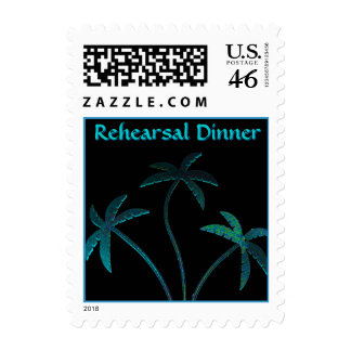 Rehearsal Dinner Turquoise Palm Trees Postage