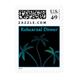 Rehearsal Dinner Turquoise Palm Trees Postage Stamp