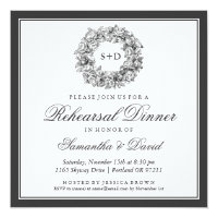 Rehearsal Dinner Vintage Floral Monogram Black Card