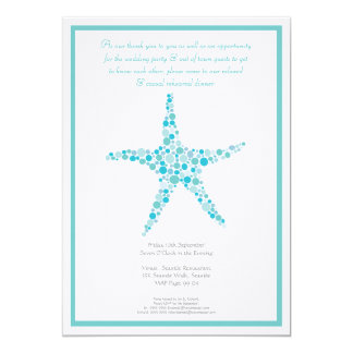 Rehearsal Dinner Wedding Aqua Turquoise Starfish Card