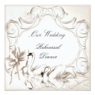 Rehearsal Dinner Wedding Cream White Swans Set Card
