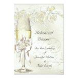 Rehearsal Dinner Wedding Gold Cream Pearl Floral Card