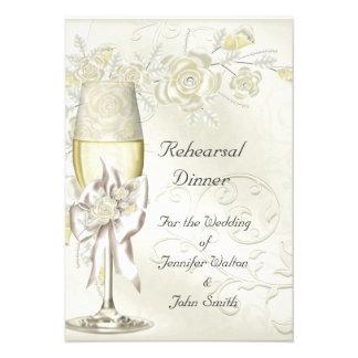 Rehearsal Dinner Wedding Gold Cream Pearl Floral Invitations