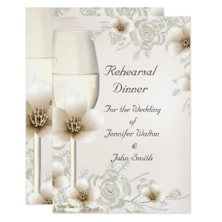 Rehearsal Dinner Wedding Sepia Cream Rose Blossom Card