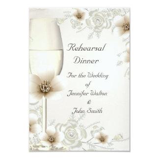 "Rehearsal Dinner Wedding Sepia Cream Rose Blossom 3.5"" X 5"" Invitation Card"