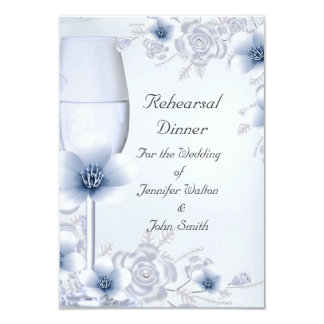 Rehearsal Dinner Wedding Silver Blue Rose Blossom Card