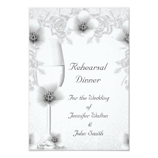 Rehearsal Dinner Wedding Silver White Rose Blossom Card Zazzle