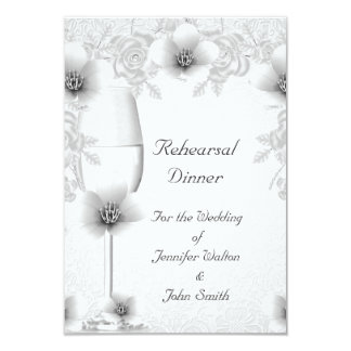 Rehearsal Dinner Wedding Silver White Rose Blossom Card