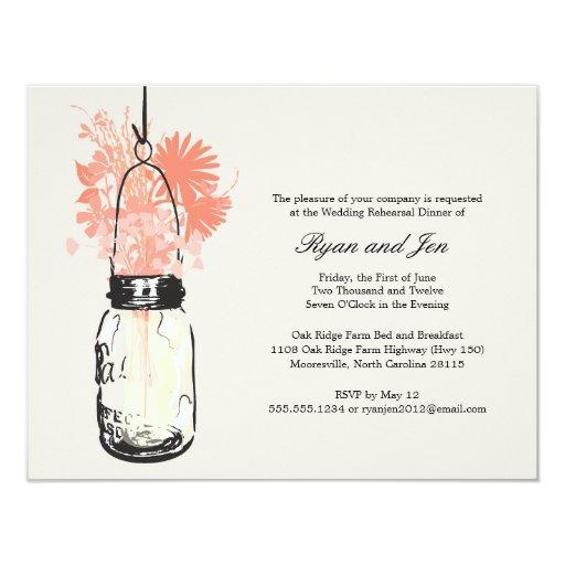 Rehearsal Dinner - Wild Flowers & Mason Jar 4.25x5.5 Paper Invitation Card