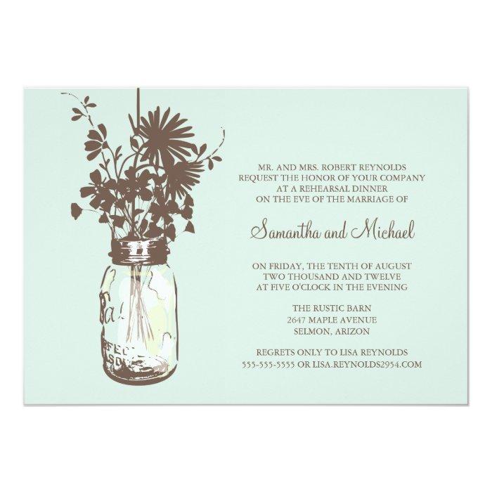 Rehearsal Dinner - Wild Flowers & Mason Jar Card