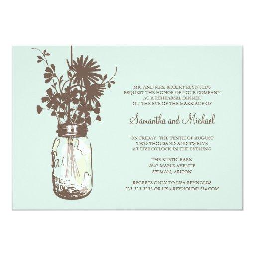 "Rehearsal Dinner - Wild Flowers & Mason Jar 5"" X 7"" Invitation Card"