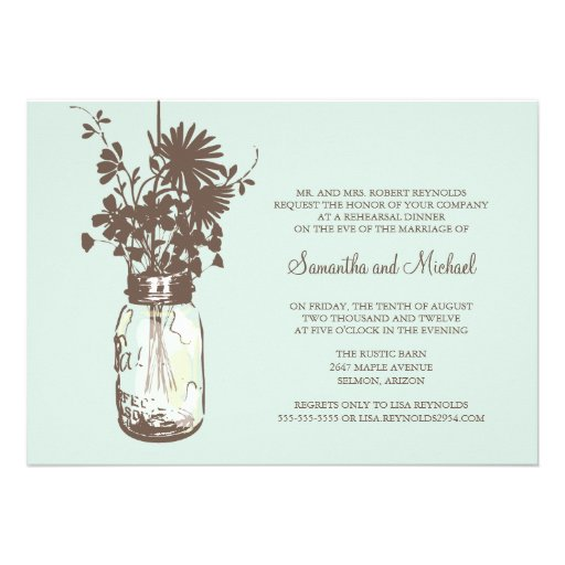 Rehearsal Dinner - Wild Flowers & Mason Jar Invite