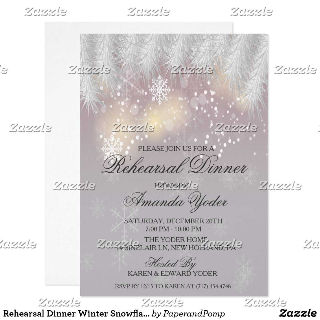 Rehearsal Dinner Winter Snowflake Invitation