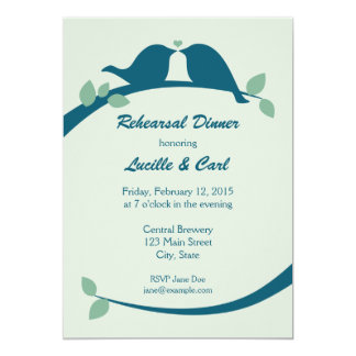 "Rehearsal Dinner with Lovebirds 5"" X 7"" Invitation Card"