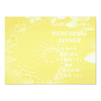 Rehearsal Dinner - Yellow Abstract Flowers 6.5x8.75 Paper Invitation Card