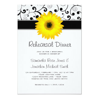 Rehearsal Dinner Yellow Gerbera Daisy Black Scroll Card