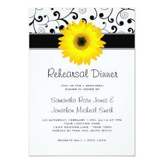 Rehearsal Dinner Yellow Gerbera Daisy Black Scroll Card