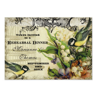 Rehearsal Dinner - Yellow Song Bird Cage Floral 5x7 Paper Invitation Card