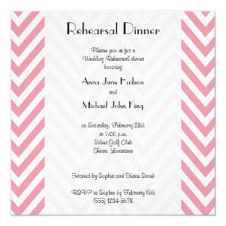 Rehearsal Dinner - Zigzag (Chevron) - Pink White Card
