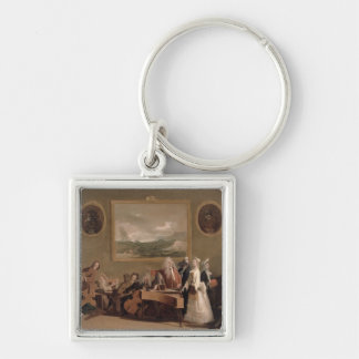 Rehearsal of an Opera, c.1709 (oil on canvas) 2 Silver-Colored Square Keychain