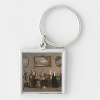 Rehearsal of an Opera, c.1709 (oil on canvas) Silver-Colored Square Keychain
