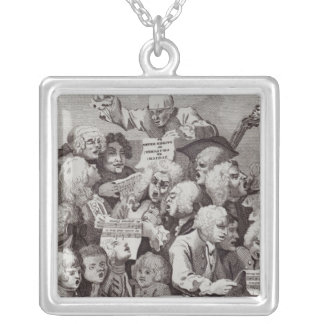 Rehearsal of the Oratorio of Judith, 1734 Square Pendant Necklace