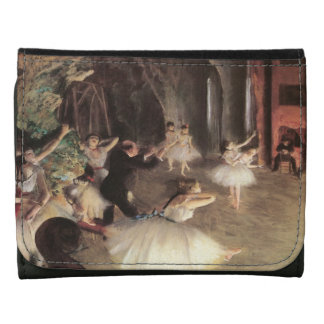 Rehearsal on the Stage by Edgar Degas Leather Trifold Wallet