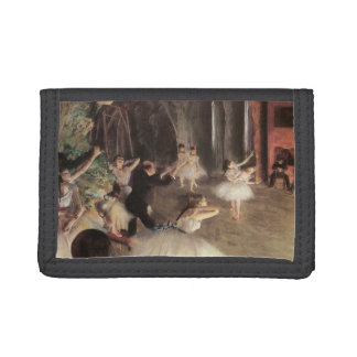 Rehearsal on the Stage by Edgar Degas Trifold Wallet