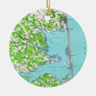 Rehoboth Beach & Bethany Beach Delaware Map (1938) Ceramic Ornament