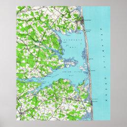 Rehoboth Beach & Bethany Beach Delaware Map (1938) Poster