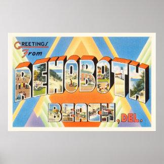 Rehoboth Beach Delaware DE Vintage Travel Postcard Poster