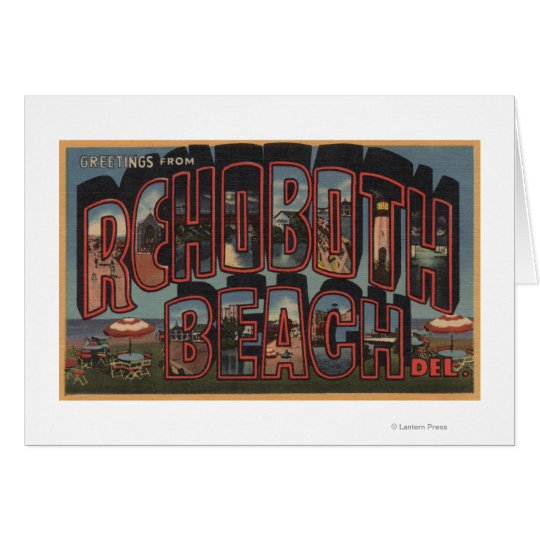Rehoboth Beach, Delaware - Large Letter Scenes Card