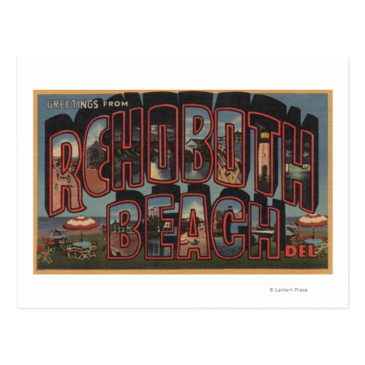 Rehoboth Beach, Delaware - Large Letter Scenes Post Card