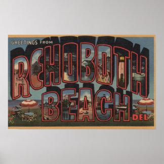 Rehoboth Beach, Delaware - Large Letter Scenes Poster