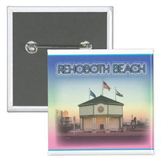 Rehoboth Beach Delaware - Rehoboth Ave Scene Pinback Buttons