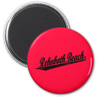 Rehoboth Beach script logo in black 2 Inch Round Magnet