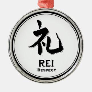 REI respect virtue samurai kanji Round Metal Christmas Ornament
