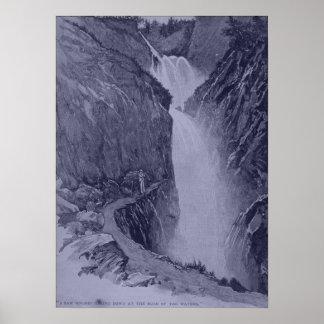 Reichenbach se cae - Sidney Paget - tinte azul Póster
