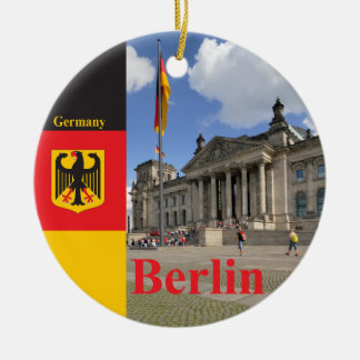 Reichstag building. Berlin, Germany Double-Sided Ceramic Round Christmas Ornament