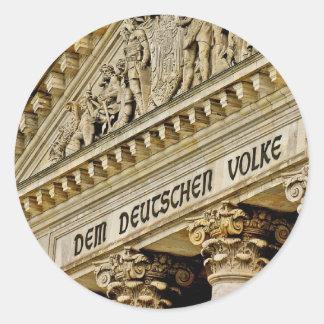 Reichstag / Bundestag, Entrance, Berlin (r1) Classic Round Sticker