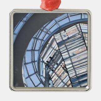 Reichstag reflejó la bóveda - Berlín Adorno Navideño Cuadrado De Metal