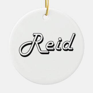 Reid Classic Retro Name Design Double-Sided Ceramic Round Christmas Ornament