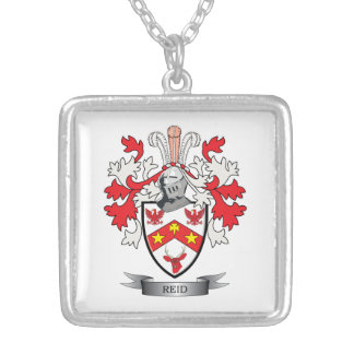 Reid Family Crest Coat of Arms Silver Plated Necklace
